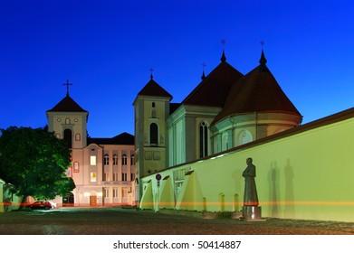 Lithuania. City of Kaunas. Illuminated Church of Holy Trinity and Priest Seminary (Senamiestis)