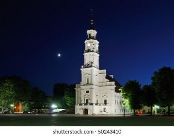 Lithuania. City of Kaunas. Illuminated Kaunas city hall at dusk