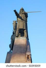 Lithuania. City of Vilnius. Bronze monument to Grand Duke Gediminas against a blue sky