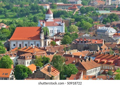 Lithuania. City of Vilnius. The Orthodox Church of the Holy Mother of God and historic site coverage. View from the tower