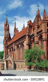 Lithuania. City of Vilnius. Roman-Catholic St. Anne's Church build from the red bricks. Sunny day