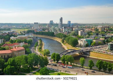 Lithuania. City of Vilnius. City skyline. View on modern city center, skyscrapers and bridge over Neris river