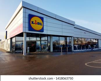 Mažeikiai, Lithuania - december 19, 2018: LIDL supermarket with logo in Mažeikiai, Lithuania.  Lidl is a German global discount supermarket chain.