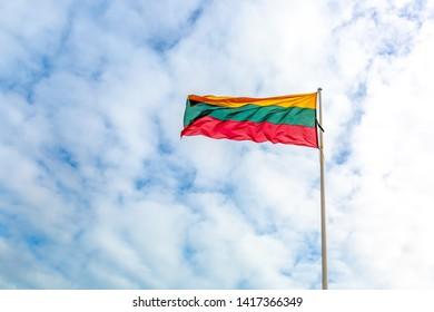 Lithuania Flag on the mast.  Lithuanian flag