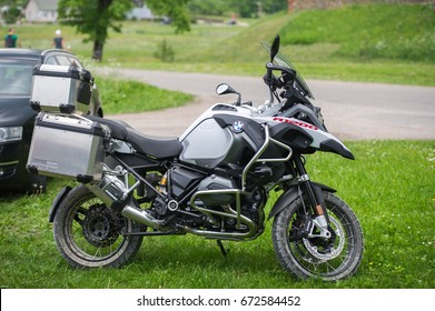 LITHUANIA - JUNE 10, 2017: BMW GS R1200 motorcycle parked on the grass. The BMW R1200GS and R1200GS Adventure are motorcycles manufactured in Berlin, Germany by BMW Motorrad, part of the BMW group.