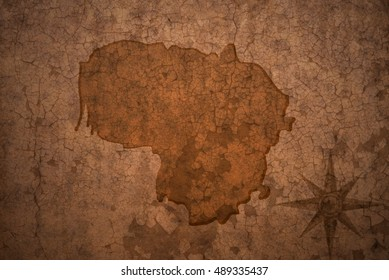 lithuania map on a old vintage crack paper background