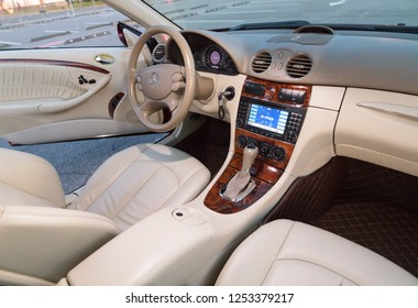 LITHUANIA, NOVEMBER 2018 - Mercedes-Benz CLK 280 interrior.