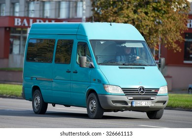 LITHUANIA - OCT 12: Mercedes Sprinter Van on Oct. 12, 2015 in Lithuania. The Sprinter is a vehicle built by Daimler AG of Stuttgart, Germany as a van, chassis cab, minibus, and pickup truck.