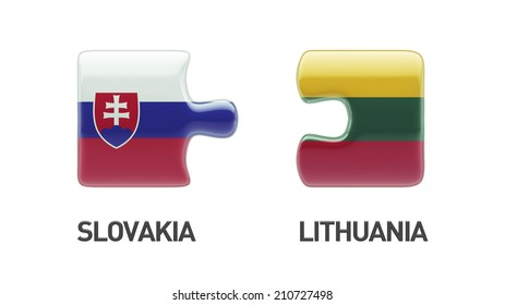 Lithuania Slovakia High Resolution Puzzle Concept