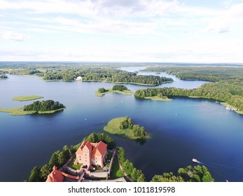 Lithuania top travel destination aerial photo - Lithuanian lakes in Trakai birds eye view