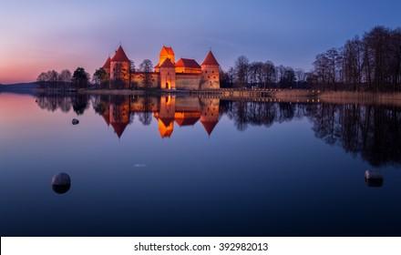 Lithuania, Trakai . Trakai Castle at night - Island castle in Trakai is a museum and a cultural center.