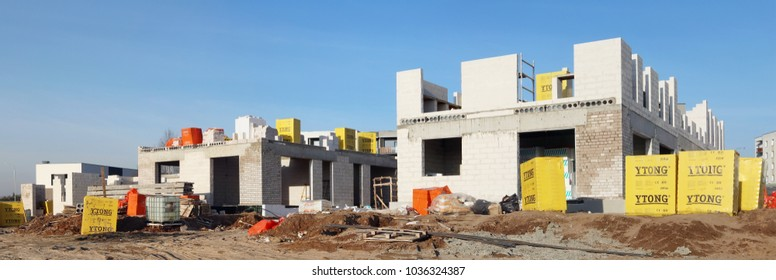 LITHUANIA , VILNIUS- JANUARY 13, 2018: When building new houses, aerated concrete and slag blocks of the world brand Ytong are actively used.  Ytong was founded in 1929