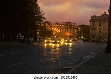 Lithuania, Vilnius - September 5, 2017: Capital of Lithuania. Night views of old city