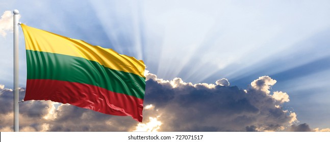 Lithuania waving flag on blue sky. 3d illustration