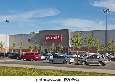 LITHUANIA-APRIL 28: Rimi Hypermarket shopping centre on April, 2014 in Lithuania. Rimi Baltic is a major retail operator in the Baltic states