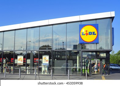 LITHUANIA-JULY 02:LIDL supermarket and logo on July 02,2016 in Lithuania. Lidl is a German global discount supermarket chain, that operates over 10,000 stores across Europe.