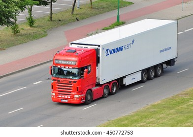 LITHUANIA-JULY 05: truck of on the street on July 05,2016 in Lithuania.