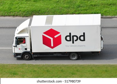 LITHUANIA-JULY 11:DPD truck on the route on July 11,2016 in Lithuania.Dynamic Parcel Distribution or DPD is an international parcel delivery company owned by GeoPost.
