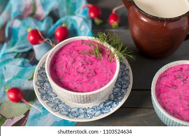 Lithuanian cold soup. Beetroot dish. Healthy food. Dishes for the summer. Food and drink.