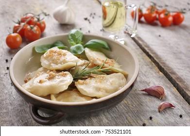 Lithuanian dumplings with crumbs