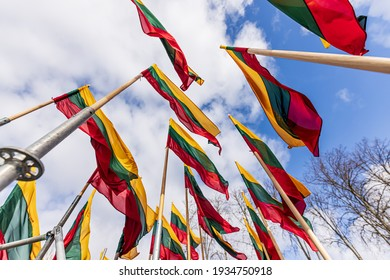 Lithuanian flags waving in a wind