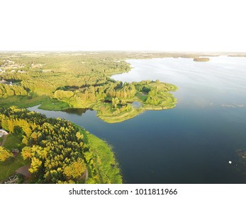 Lithuanian lake aerial view - Lithuanian lakes birds eye view - Green Lithuanian nature drone photo