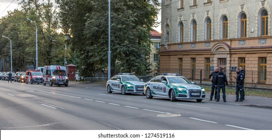 Lithuanian police in Vilnius, Lithuania, during pastoral visit of Pope Francis in September 25, 2018.