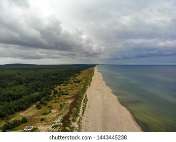 Lithuanian sea shore at Curonian spit. Unique place among Baltic sea and Curonian lagoon