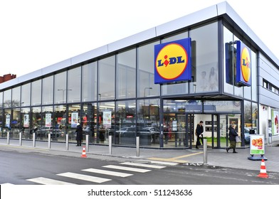 LITHUANIA-NOV 07:LIDL supermarket and logo on November 07,2016 in Lithuania. Lidl is a German global discount supermarket chain, that operates over 10,000 stores across Europe.
