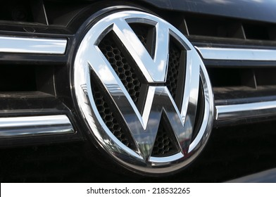 LITHUANIA-SEPTEMBER 18:Volkswagen logo on September 18,20014 in Lithuania. Volkswagen is a German automobile manufacturer headquartered in Wolfsburg, Lower Saxony, Germany.