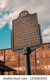 Lititz, PA, USA - February 25, 2013:  The Lititz Historic Marker in the downtown area of the borough.