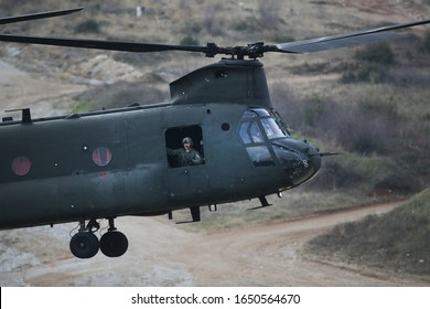 Litochoro, Greece - Feb 19, 2020. Greek Army CH-47 Chinook Helicopter takes part at a military exercise between Greek and US Army.