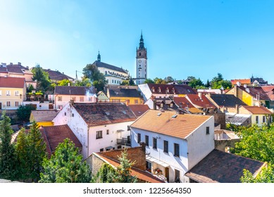 Litomerice cityscape with baroque St. Stephen's Cathedral and bell tower, Litomerice, Czech Republic. View from fortification walls and baileys.