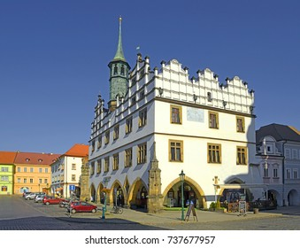 LITOMERICE, CZECH REPUBLIC - OCTOBER 15, 2017: Old Town Hall, today a museum. Litomerice is a historic city at the confluence of the Elbe and Ohre river in Northern Bohemia (Usti nad Labem Region)