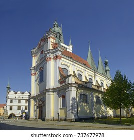 LITOMERICE, CZECH REPUBLIC - OCTOBER 15, 2017: Church of All Saints. Litomerice is a historic city at the confluence of the Elbe and Ohre river in Northern Bohemia (Usti nad Labem Region)
