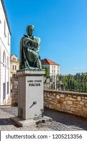 LITOMERICE, CZECH REPUBLIC - SEPTEMBER 23, 2018: Statue of poet Karel Hynek Macha in Litomerice, Czech Republic.