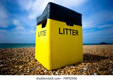 A litter box on the beach in Brighton, UK