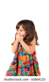 Little 3 year old girl holding her hands over her mouth with an astonished  look on a white background