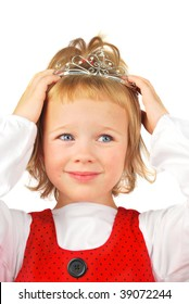 Little adorable blond girl wearing nice silver diamond tiara. Fairy tales come true!