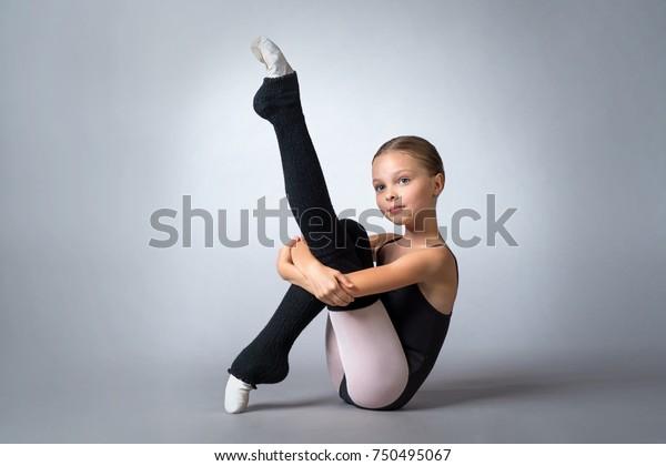 Little Adorable Child Ballerina Poses Studio Stock Photo Edit Now 750495067