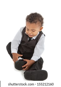 Little African American Baby Boy Put Shoes On