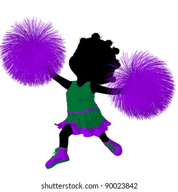 Little african american cheer girl on a white background