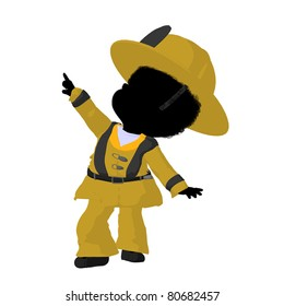 Little african american firefighter girl on a white background