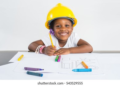 Little African American Girl playing engineer