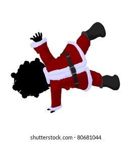 Little african american santa girl on a white background