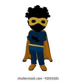 Little african american super hero girl on a white background