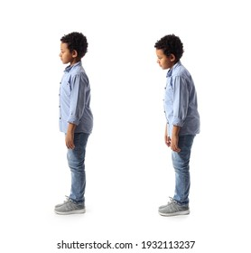 Little African-American boy with proper and bad posture on white background