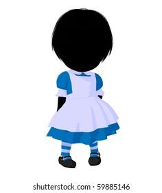 Little alice in wonderland illustration silhouette on a white background