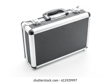 Little aluminum case on white background