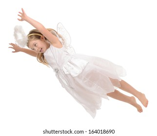 a little angel or fairy flying isolated on white